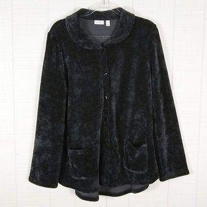 LOGO Lori Goldstein Chenille Sweater Jacket Black
